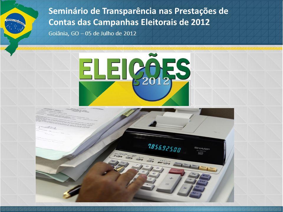 ABORDAGENS Seminário de Transparência nas Prestações de Contas das Campanhas Eleitorais de 2012 Goiânia, GO – 05 de Julho de 2012 FINANCIAMENTO DAS CAMPANHAS ELEITORAIS COMITÊS FINANCEIROS CNPJ e CONTA BANCÁRIA RECIBOS ELEITORAIS ARRECADAÇÃO DE RECURSOS DOAÇÕES: PF, PJ, ESTIMÁVEIS EM DINHEIRO, PELA INTERNET EVENTOS E COMERCIALIZAÇÃO DE BENS FONTES DE RECURSOS (PERMITIDAS e LIMITES e VEDADAS) GASTOS DE CAMPANHA: FUNDO DE CAIXA...