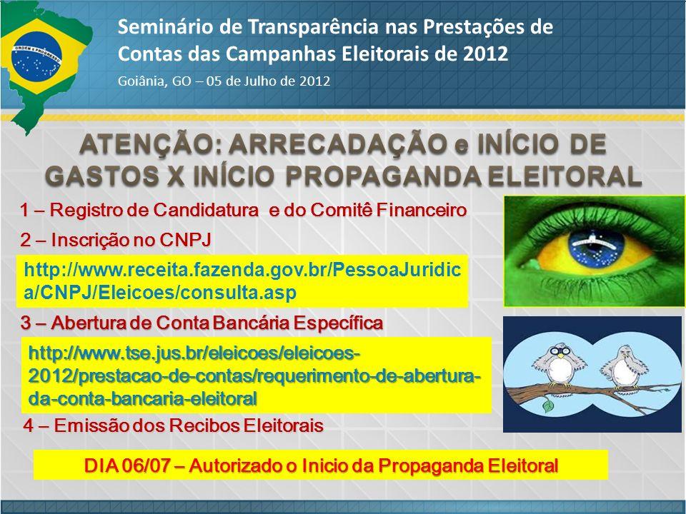 Seminário de Transparência nas Prestações de Contas das Campanhas Eleitorais de 2012 Goiânia, GO – 05 de Julho de 2012 1 – Registro de Candidatura e d
