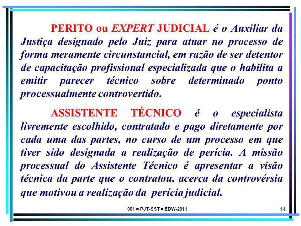001 = PJT-SST = EDW-2011 13 OBJETO DA PERÍCIA corresponde à pessoa, à coisa ou ao fato a ser submetido a exame, vistoria ou avaliação pelo Expert Judi