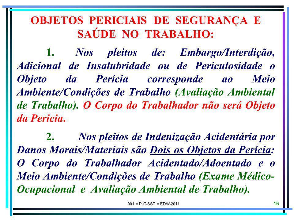001 = PJT-SST = EDW-2011 15 CRITÉRIOS TÉCNICO-PERICIAIS: CRITÉRIO SUBJETIVO. O Adicional de Insalubridade somente é devido quando o trabalhador for ac