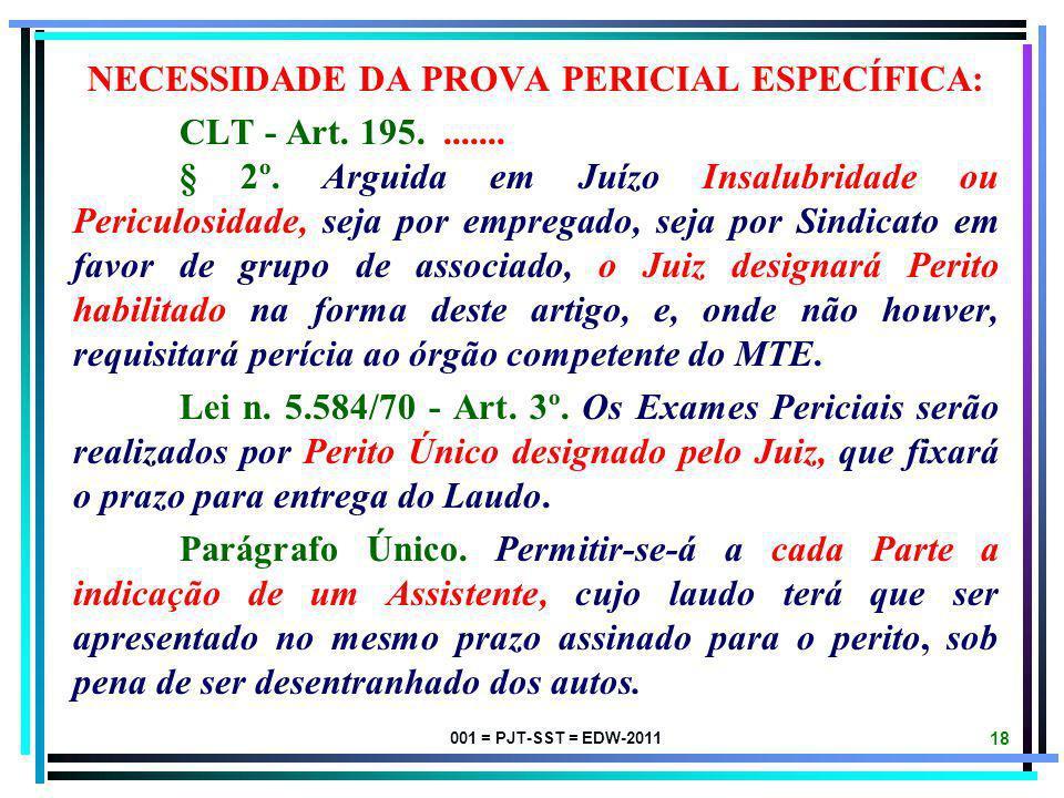 001 = PJT-SST = EDW-2011 17 COMPETÊNCIA LEGAL PARA REALIZAR PERÍCIAS DE SEGURANÇA E SAÚDE NO TRABALHO: 1. A caracterização e a classificação da Insalu
