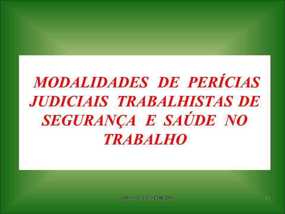 001 = PJT-SST = EDW-2011 20 FALSA PERÍCIA corresponde ao condenável procedimento do Perito Judicial que, em seu laudo pericial ou mesmo ao prestar esc