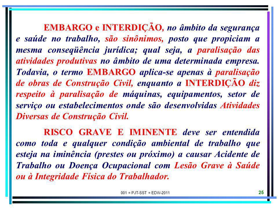 001 = PJT-SST = EDW-2011 24 FUNDAMENTOS JURÍDICOS DE EMBARGO/INTERDIÇÃO: NR-03: EMBARGO OU INTERDIÇÃO (redação atual dada pela Portaria SIT-MTE n. 199