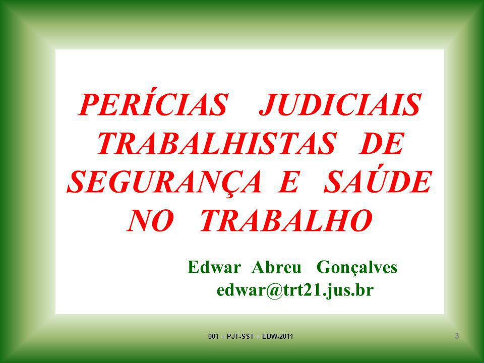 001 = PJT-SST = EDW-2011 13 OBJETO DA PERÍCIA corresponde à pessoa, à coisa ou ao fato a ser submetido a exame, vistoria ou avaliação pelo Expert Judicial designado e sobre o qual incide a controvérsia processual.