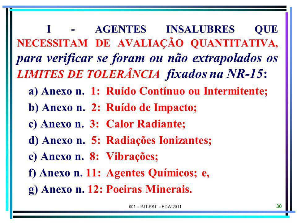 001 = PJT-SST = EDW-2011 29 O MTE APROVARÁ O QUADRO DAS ATIVIDADES E OPERAÇÕES INSALUBRES e adotará normas sobre os critérios de caracterização da ins