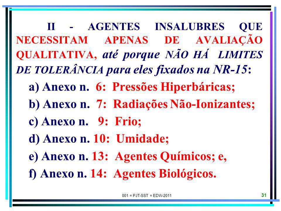 001 = PJT-SST = EDW-2011 30 I - AGENTES INSALUBRES QUE NECESSITAM DE AVALIAÇÃO QUANTITATIVA, para verificar se foram ou não extrapolados os LIMITES DE