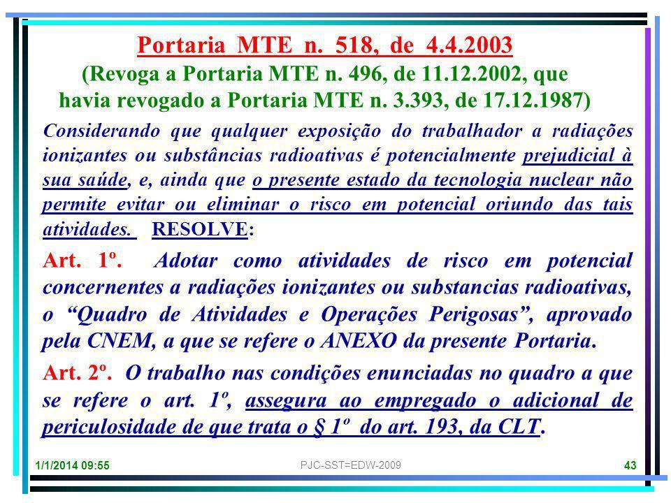 1/1/2014 09:57 PJC-SST=EDW-2009 42 Portaria MTE n. 496, de 11.12.2002 (Revoga a Portaria MTb n. 3.393, de 17.12.1987) O Ministro de Estado do MTE, no