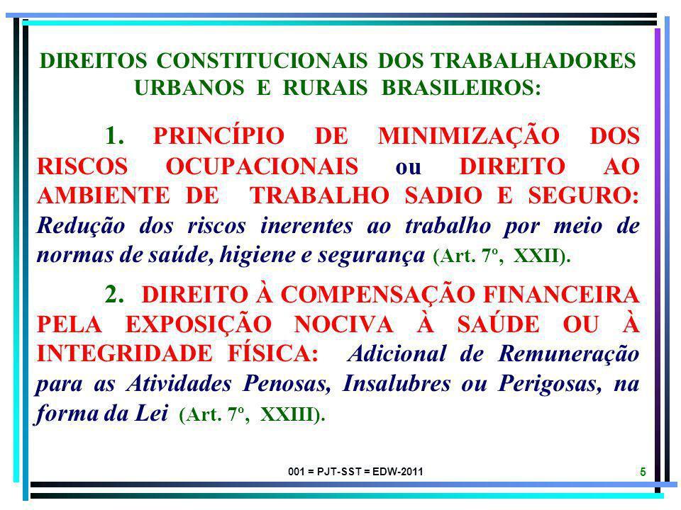001 = PJT-SST = EDW-2011 5 DIREITOS CONSTITUCIONAIS DOS TRABALHADORES URBANOS E RURAIS BRASILEIROS: 1.