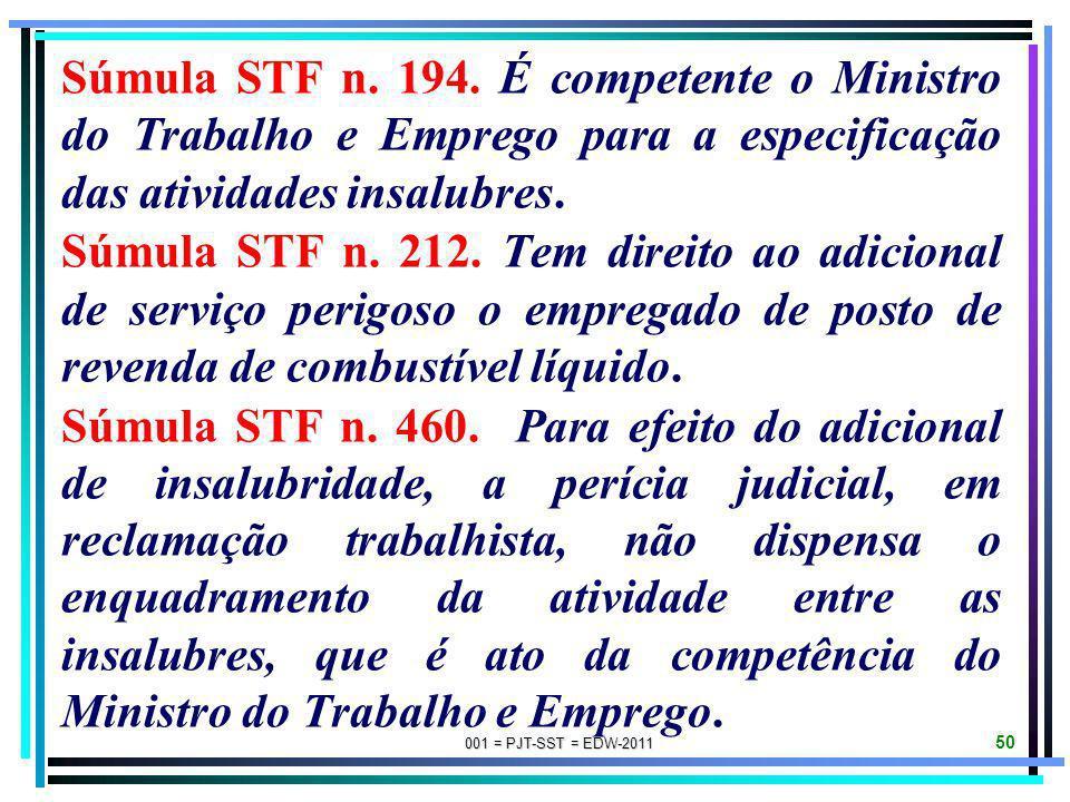 001 = PJT-SST = EDW-2011 49 SÚMULAS DE JURISPRUDÊNCIA DO STF SOBRE PERÍCIAS JUDICIAIS PARA FINS DE ADICIONAIS DE INSALUBRIDADE E/OU PERICULOSIDADE