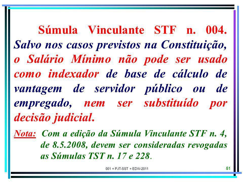 001 = PJT-SST = EDW-2011 50 Súmula STF n. 194. É competente o Ministro do Trabalho e Emprego para a especificação das atividades insalubres. Súmula ST