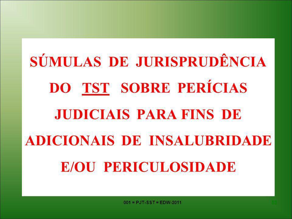 001 = PJT-SST = EDW-2011 52 VALORES ATUAIS DO ADICIONAL DE INSALUBRIDADE: GRAU de INSALUBRIDADE Até 08.05.2008 A Partir de 09.05.2008 MÍNIMO10% do S.