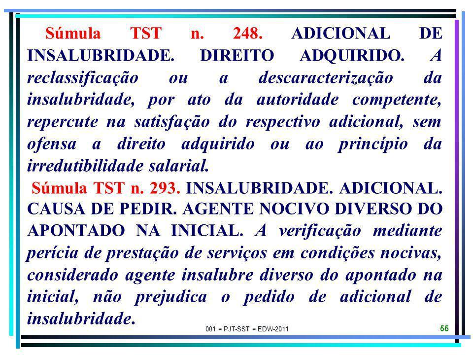 001 = PJT-SST = EDW-2011 54 Súmula TST n. 080. INSALUBRIDADE. A eliminação da insalubridade mediante fornecimento de aparelhos protetores aprovados pe
