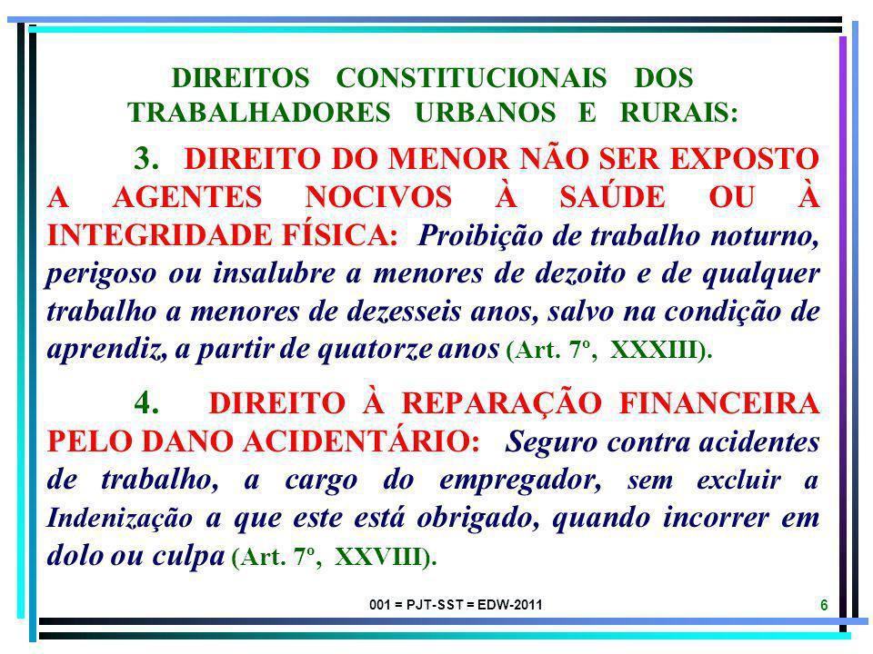 001 = PJT-SST = EDW-2011 5 DIREITOS CONSTITUCIONAIS DOS TRABALHADORES URBANOS E RURAIS BRASILEIROS: 1. PRINCÍPIO DE MINIMIZAÇÃO DOS RISCOS OCUPACIONAI