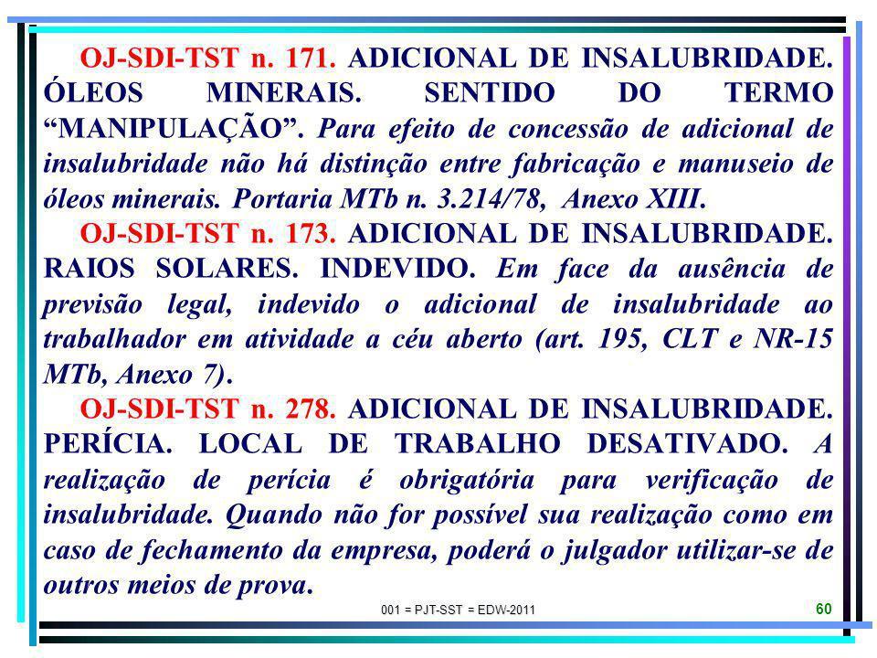 001 = PJT-SST = EDW-2011 59 OJ-SDI-1-TST n. 004. ADICIONAL DE INSALUBRIDADE. LIXO URBANO. I - Não basta a constatação da insalubridade por meio de lau