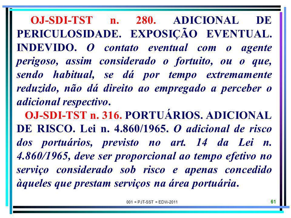 001 = PJT-SST = EDW-2011 60 OJ-SDI-TST n. 171. ADICIONAL DE INSALUBRIDADE. ÓLEOS MINERAIS. SENTIDO DO TERMO MANIPULAÇÃO. Para efeito de concessão de a