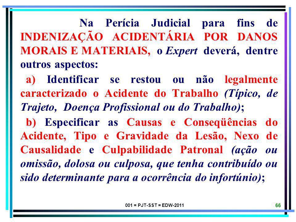 001 = PJT-SST = EDW-2011 65 EXAME MÉDICO-OCUPACIONAL DO TRABALHADOR E AVALIAÇÃO AMBIENTAL DE TRABALHO PARA FINS DE INDENIZAÇÃO ACIDENTÁRIA POR DANOS M