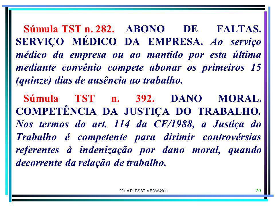 001 = PJT-SST = EDW-2011 69 Súmula STF n. 230. A prescrição da ação de acidente do trabalho conta-se do exame pericial que comprovar a enfermidade ou