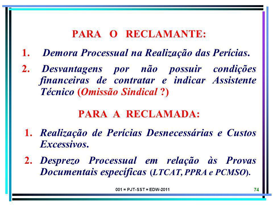 001 = PJT-SST = EDW-2011 73 PARA A JUSTIÇA DO TRABALHO: 1. ASSUNÇÃO DE ÔNUS INDEVIDO DE DESPESAS PERICIAIS (Encargo Probatório). 2. AUMENTO CRESCENTE