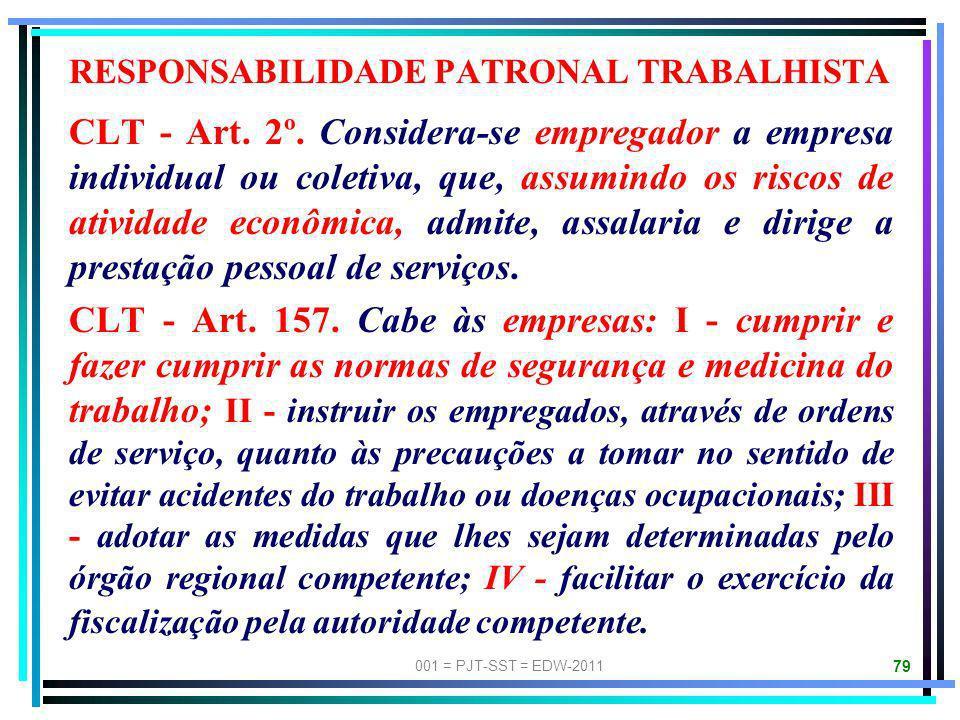 001 = PJT-SST = EDW-2011 78 A responsabilidade pelo pagamento dos HONORÁRIOS PERICIAIS é da Parte Sucumbente na pretensão objeto da perícia, salvo se