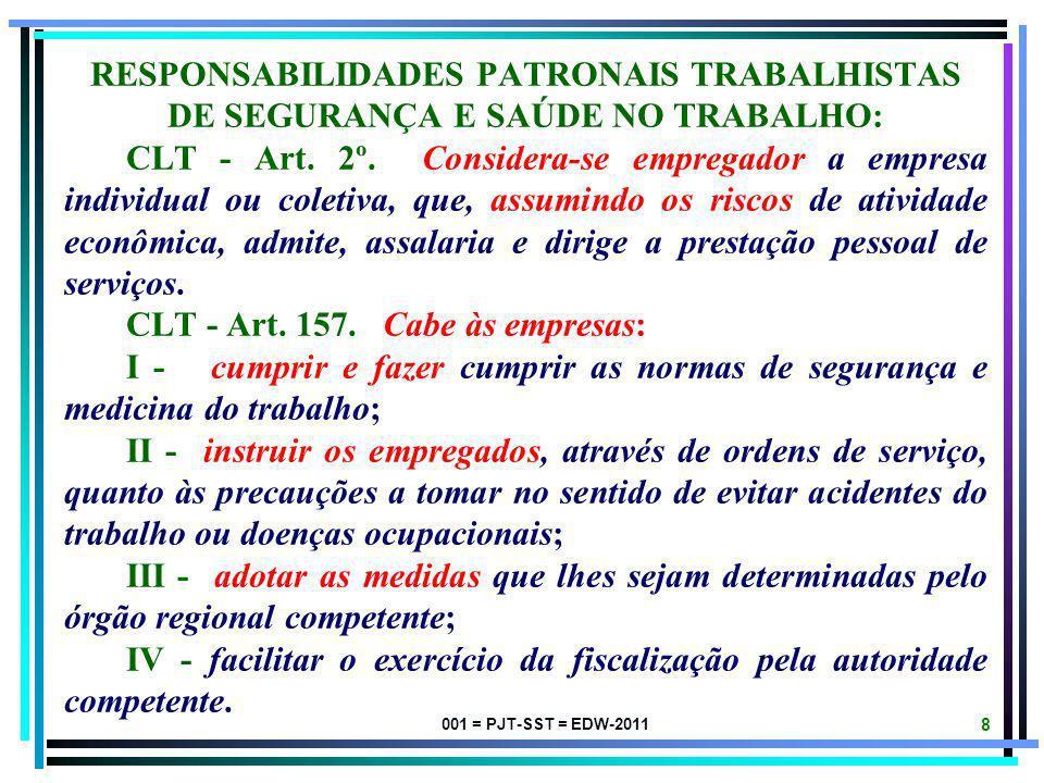 001 = PJT-SST = EDW-2011 8 RESPONSABILIDADES PATRONAIS TRABALHISTAS DE SEGURANÇA E SAÚDE NO TRABALHO: CLT - Art.