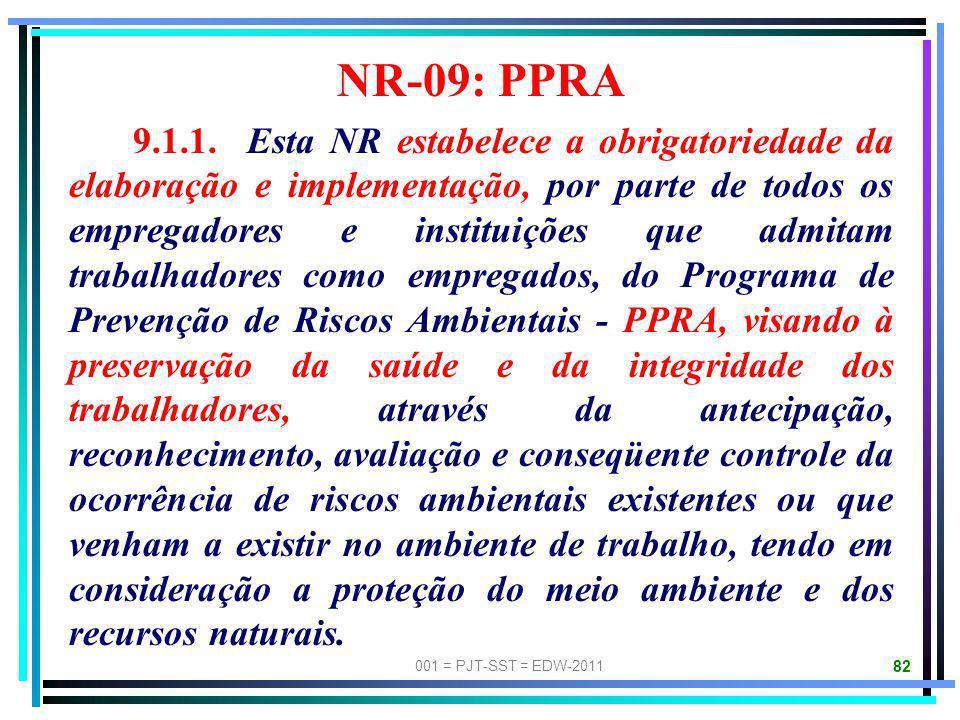 001 = PJT-SST = EDW-2011 81 NR-07: PCMSO 7.1.1. Esta Norma Regulamentadora, NR, estabelece a obrigatoriedade de elaboração e implementação, por parte