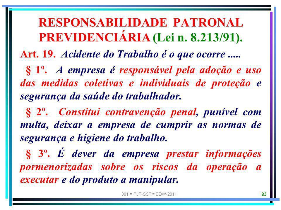 001 = PJT-SST = EDW-2011 82 NR-09: PPRA 9.1.1. Esta NR estabelece a obrigatoriedade da elaboração e implementação, por parte de todos os empregadores