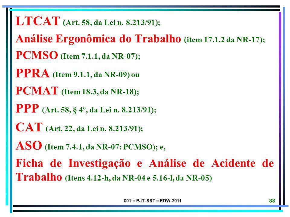 001 = PJT-SST = EDW-2011 87 NOTIFICAÇÃO INICIAL DA RECLAMADA: Se constar da Reclamação Trabalhista pleitos relativos à SEGURANÇA E SAÚDE NO TRABALHO (