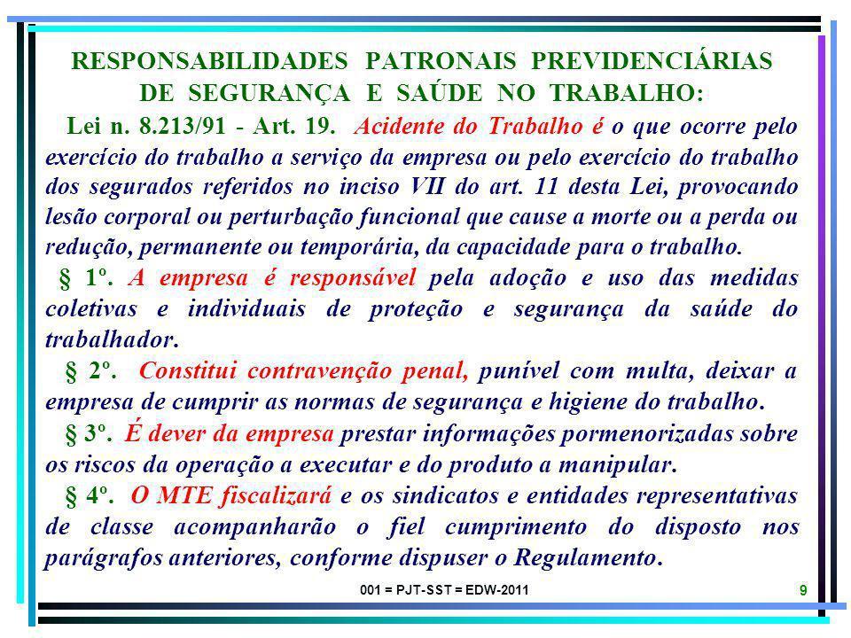 001 = PJT-SST = EDW-2011 8 RESPONSABILIDADES PATRONAIS TRABALHISTAS DE SEGURANÇA E SAÚDE NO TRABALHO: CLT - Art. 2º. Considera-se empregador a empresa