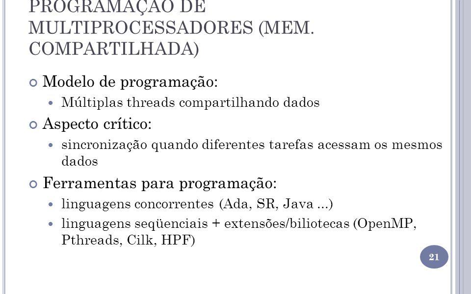 PROGRAMAÇÃO DE MULTIPROCESSADORES (MEM. COMPARTILHADA) Modelo de programação: Múltiplas threads compartilhando dados Aspecto crítico: sincronização qu