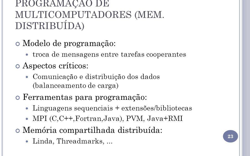 PROGRAMAÇÃO DE MULTICOMPUTADORES (MEM. DISTRIBUÍDA) Modelo de programação: troca de mensagens entre tarefas cooperantes Aspectos críticos: Comunicação