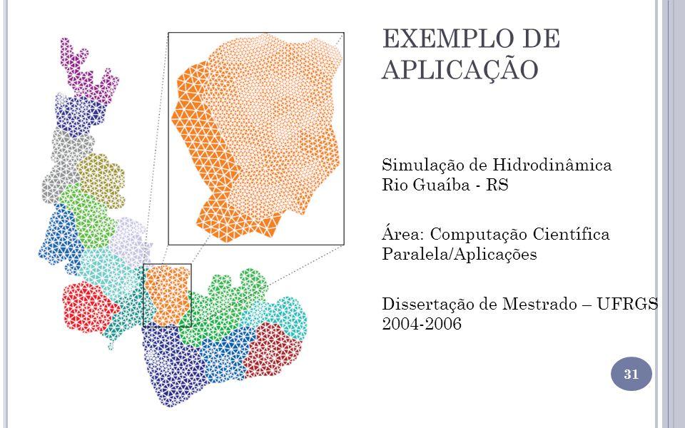 EXEMPLO DE APLICAÇÃO 31 Área: Computação Científica Paralela/Aplicações Dissertação de Mestrado – UFRGS 2004-2006 Simulação de Hidrodinâmica Rio Guaíb