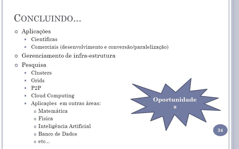 C ONCLUINDO... Aplicações Científicas Comerciais (desenvolvimento e conversão/paralelização) Gerenciamento de infra-estrutura Pesquisa Clusters Grids