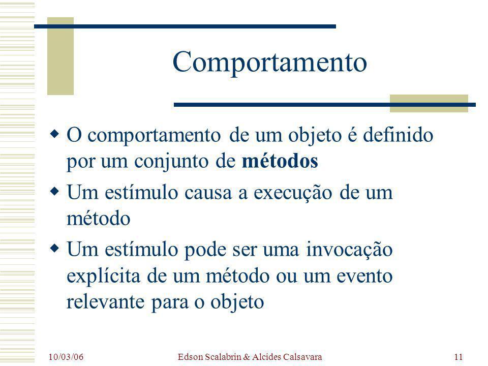 10/03/06 Edson Scalabrin & Alcides Calsavara11 Comportamento O comportamento de um objeto é definido por um conjunto de métodos Um estímulo causa a ex