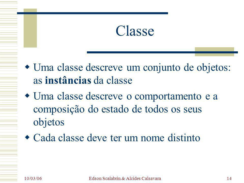 10/03/06 Edson Scalabrin & Alcides Calsavara14 Classe Uma classe descreve um conjunto de objetos: as instâncias da classe Uma classe descreve o compor