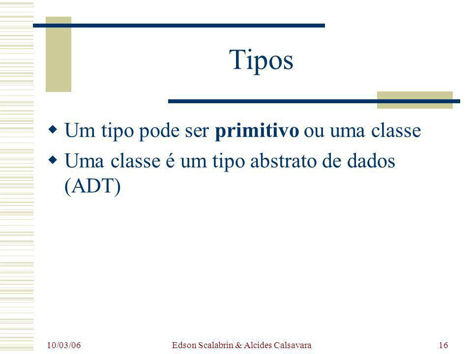 10/03/06 Edson Scalabrin & Alcides Calsavara16 Tipos Um tipo pode ser primitivo ou uma classe Uma classe é um tipo abstrato de dados (ADT)
