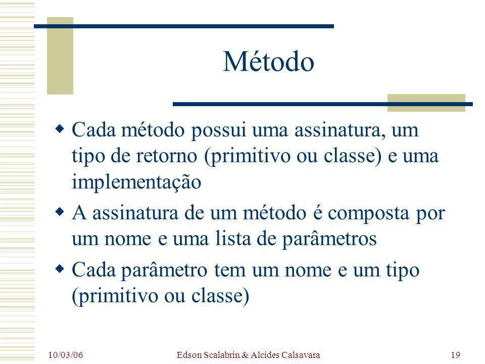 10/03/06 Edson Scalabrin & Alcides Calsavara19 Método Cada método possui uma assinatura, um tipo de retorno (primitivo ou classe) e uma implementação