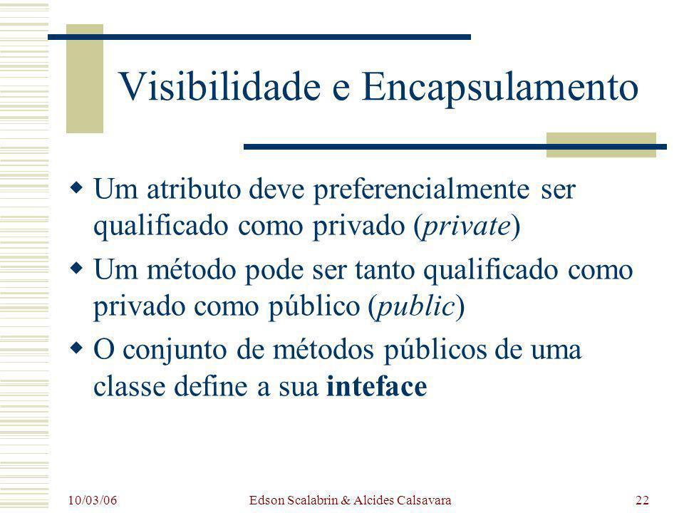 10/03/06 Edson Scalabrin & Alcides Calsavara22 Visibilidade e Encapsulamento Um atributo deve preferencialmente ser qualificado como privado (private)