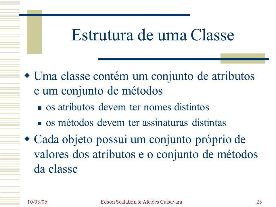 10/03/06 Edson Scalabrin & Alcides Calsavara23 Estrutura de uma Classe Uma classe contém um conjunto de atributos e um conjunto de métodos os atributo