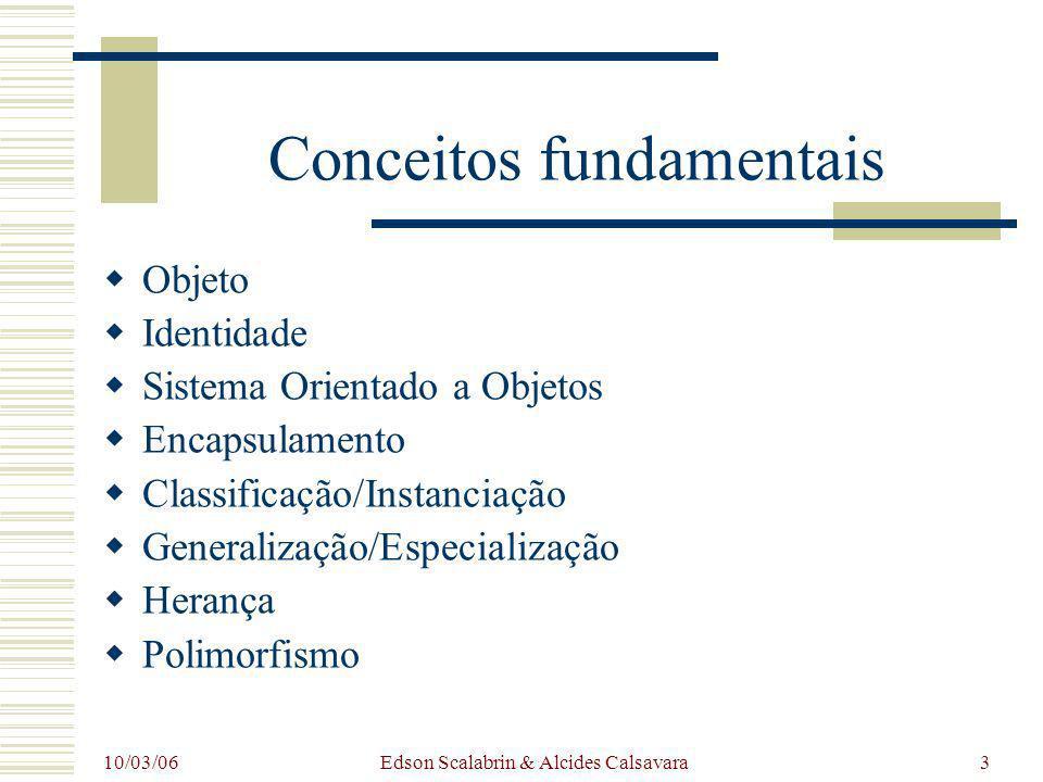 10/03/06 Edson Scalabrin & Alcides Calsavara3 Conceitos fundamentais Objeto Identidade Sistema Orientado a Objetos Encapsulamento Classificação/Instan