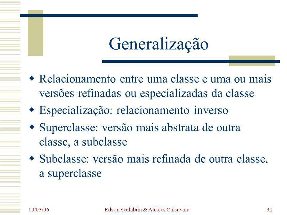 10/03/06 Edson Scalabrin & Alcides Calsavara31 Generalização Relacionamento entre uma classe e uma ou mais versões refinadas ou especializadas da clas