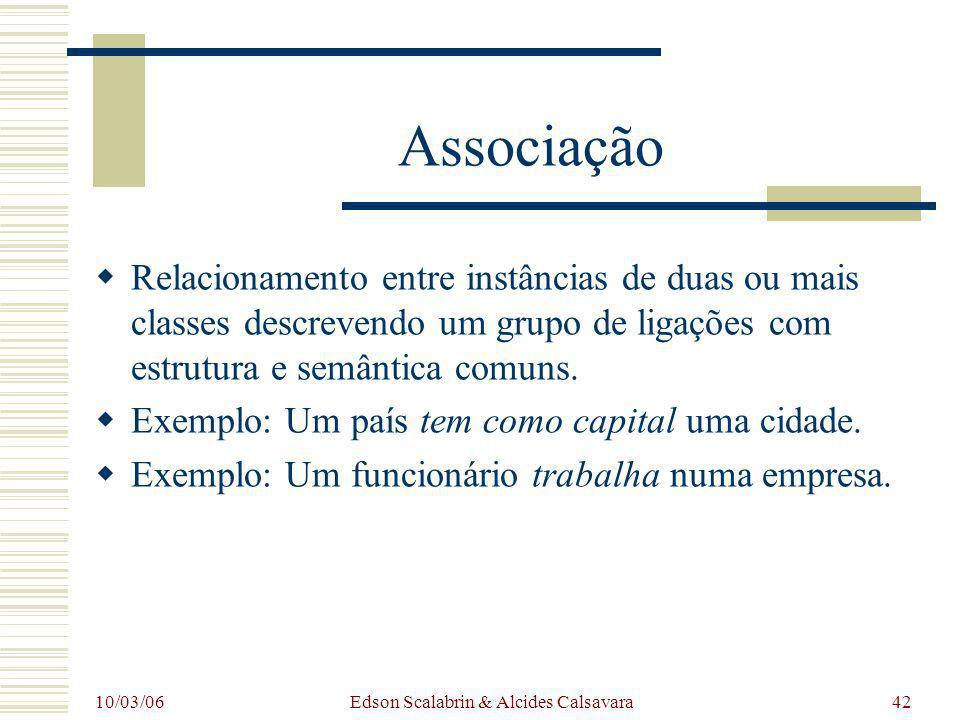 10/03/06 Edson Scalabrin & Alcides Calsavara42 Associação Relacionamento entre instâncias de duas ou mais classes descrevendo um grupo de ligações com