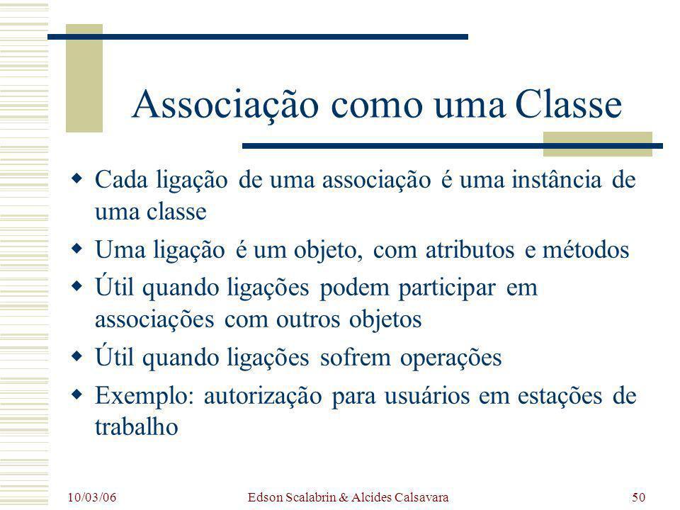 10/03/06 Edson Scalabrin & Alcides Calsavara50 Associação como uma Classe Cada ligação de uma associação é uma instância de uma classe Uma ligação é u
