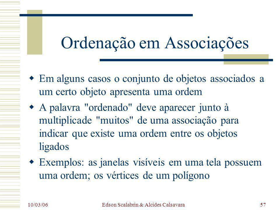 10/03/06 Edson Scalabrin & Alcides Calsavara57 Ordenação em Associações Em alguns casos o conjunto de objetos associados a um certo objeto apresenta u
