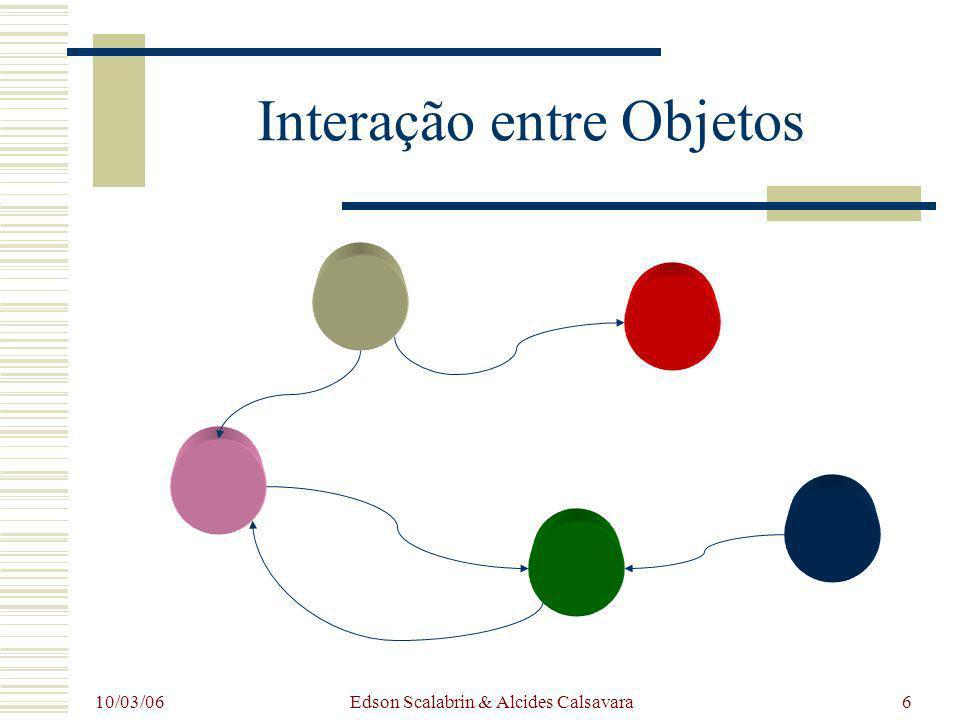 10/03/06 Edson Scalabrin & Alcides Calsavara27 :Veículo codigo = 13 hodometro cronometro relogio avance(distancia : int) exiba() comeceCronometro() pareCronometro() zereCronometro() zereHodometro() Veiculo(c : int) :Instante T diferenca(i : Instante) : int digaHoras() : int digaMinutos() : int :Date :Instante T diferenca(i : Instante) : int digaHoras() : int digaMinutos() : int :Date :Instante T diferenca(i : Instante) : int digaHoras() : int digaMinutos() : int :Date :Hodometro kilometragem = 283 momentoZeragem relogio zere() kilometragemMedia() : double avance(distancia : int) exiba() Hodometro(r : Relogio) :Cronometro ativo = true momentoInicio momentoParada relogio comece() pare() exiba() Cronometro(r : Relogio) :Relogio exiba() digaInstante() : Instante Representação de Objetos (usando UML) main