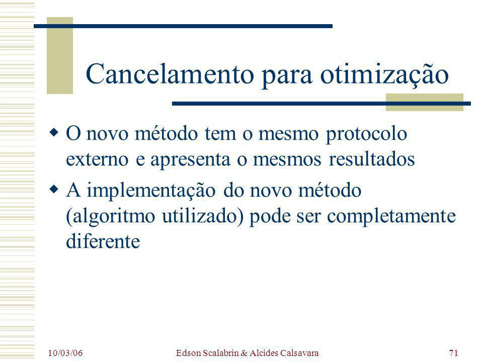 10/03/06 Edson Scalabrin & Alcides Calsavara71 Cancelamento para otimização O novo método tem o mesmo protocolo externo e apresenta o mesmos resultado