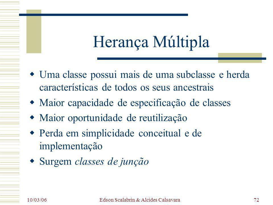 10/03/06 Edson Scalabrin & Alcides Calsavara72 Herança Múltipla Uma classe possui mais de uma subclasse e herda características de todos os seus ances