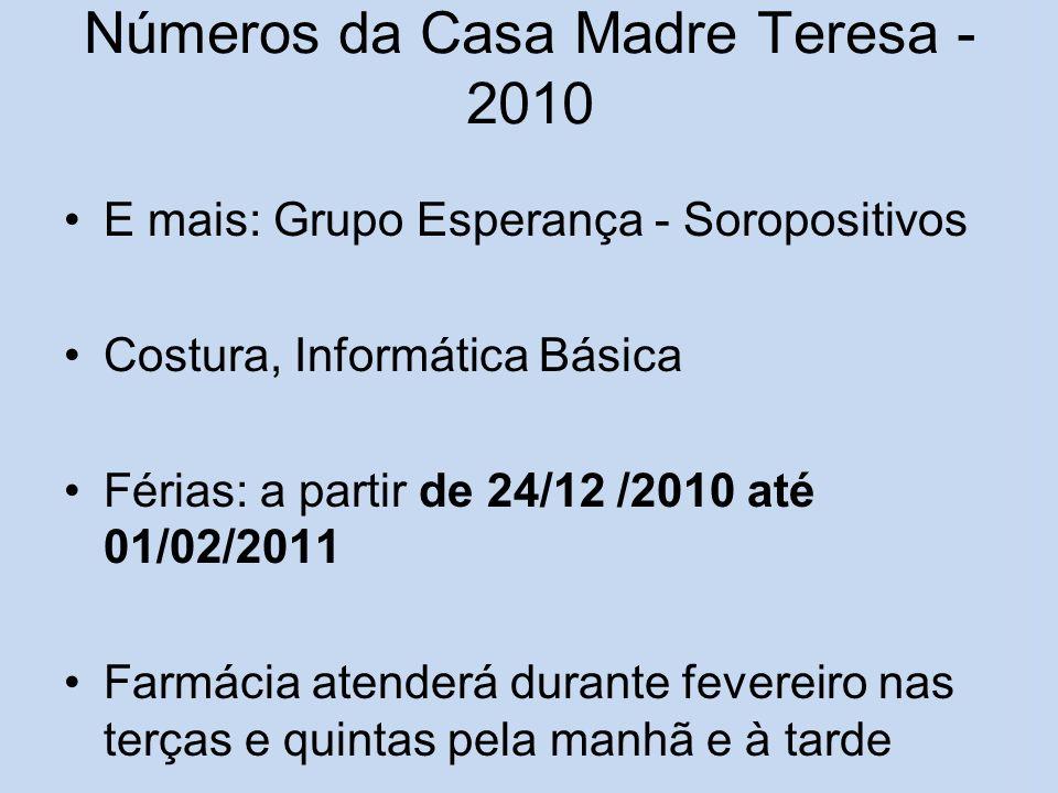 Números da Casa Madre Teresa - 2010 E mais: Grupo Esperança - Soropositivos Costura, Informática Básica Férias: a partir de 24/12 /2010 até 01/02/2011
