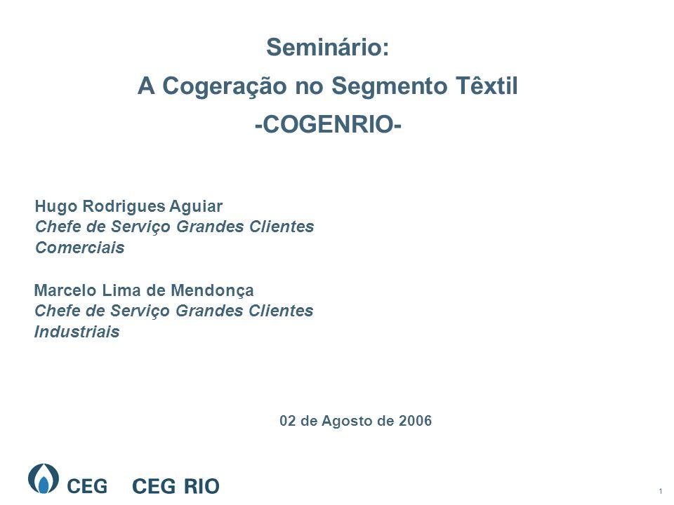 1 Seminário: A Cogeração no Segmento Têxtil -COGENRIO- 02 de Agosto de 2006 Hugo Rodrigues Aguiar Chefe de Serviço Grandes Clientes Comerciais Marcelo Lima de Mendonça Chefe de Serviço Grandes Clientes Industriais