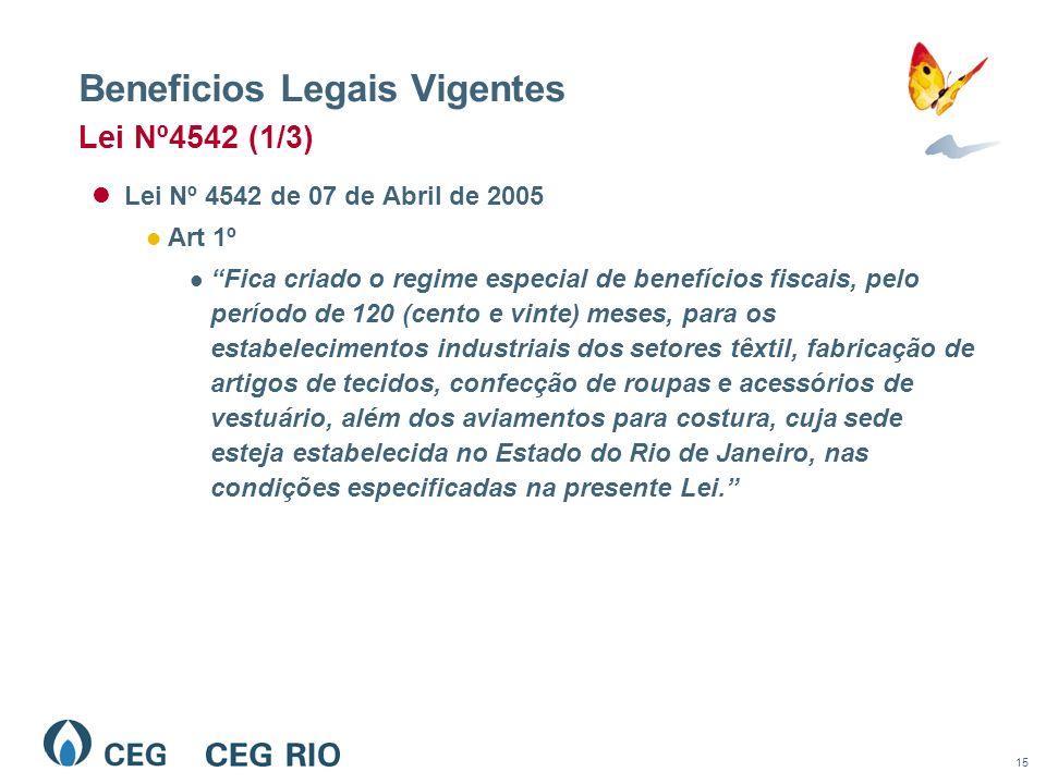 15 Beneficios Legais Vigentes Lei Nº 4542 de 07 de Abril de 2005 Art 1º Fica criado o regime especial de benefícios fiscais, pelo período de 120 (cent