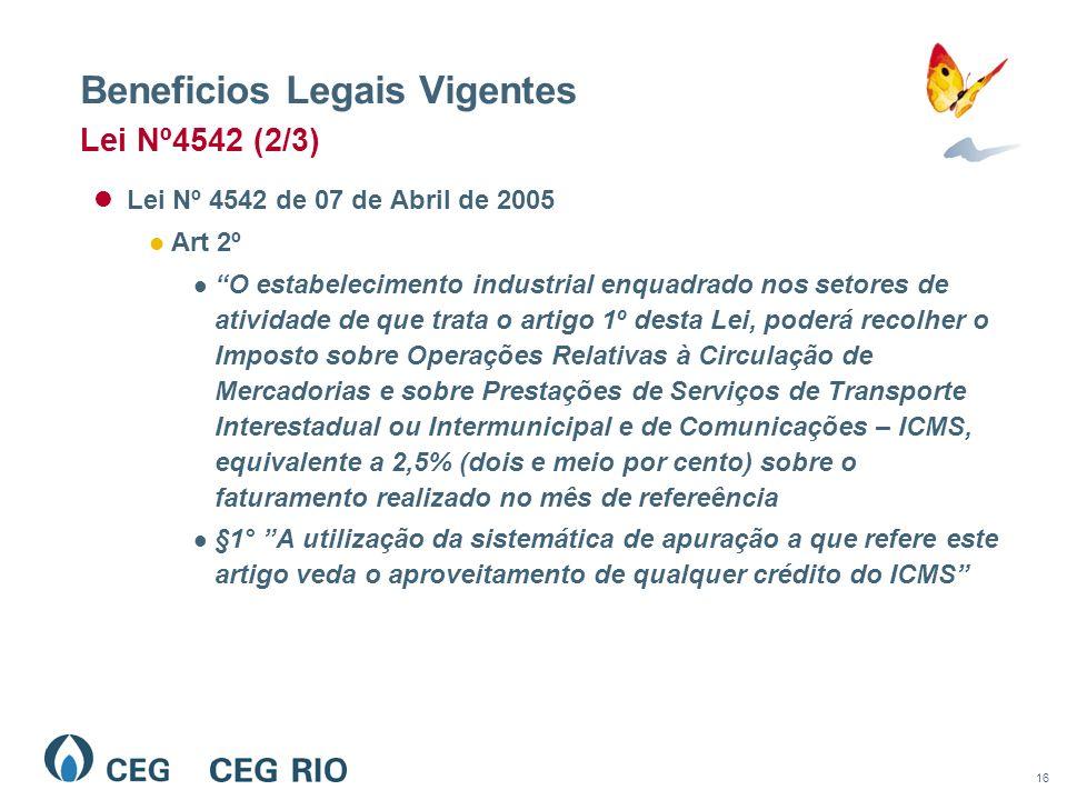 16 Beneficios Legais Vigentes Lei Nº 4542 de 07 de Abril de 2005 Art 2º O estabelecimento industrial enquadrado nos setores de atividade de que trata